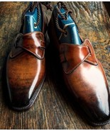 Men's Leather Cognac Patina Loafers Shoes, Handmade Genuine Leather Shoes - $159.99+