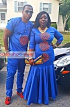 Traditional custom African couples outfit/embroidery design/Ethnic Clothig - $230.00