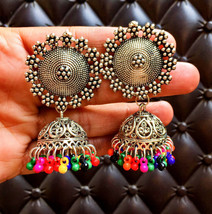 Multicolor Beaded Indian Fashion Traditional Flower Stud Classy Silver E... - €12,23 EUR