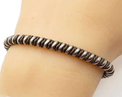 925 Sterling Silver - Vintage 2-Tone Twisted Dome Ends Cuff Bracelet - B1653