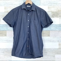 Gustin Chambray Button Front Shirt Blue Slim Fit Jacquard Mens Size Medium - $47.51
