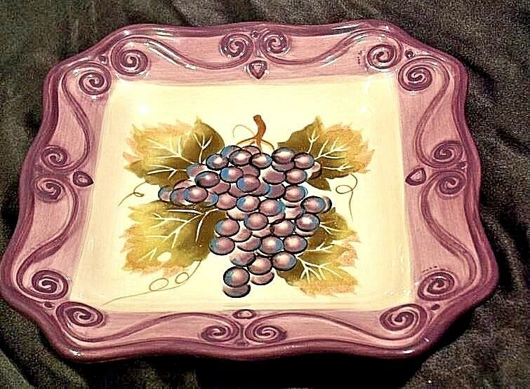 MERLOT Hand Painted Ceramic Grape Serving Dish Square AA18-1253 Vintage