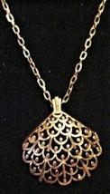Vintage Crown Trifari Gold-Tone Bold Fan Pendant Necklace w/ Chain Signed - $59.35