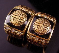 Vintage Greek Key earrings - couture pierced rhinestone set - black gold - $65.00