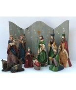 Vatican Porcelain Nativity Scene 11 Piece with Starry Backdrop in Wood -... - $41.58
