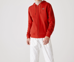 Lacoste Men's Hooded LTweight Bi-material Sweatshirt NEW AUTHENTIC Red S... - $89.99