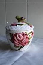 Vintage Lefton China  #4407  Hand Painted Sculpted 3D Rose  Lidded Suga... - $11.83