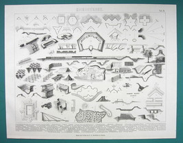 WARFARE Fortification Elements Mines Bastions Galleries  - 1870s Antique... - $21.60