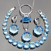 Sky Blue Zircon 925 Silver Costume Jewelry Sets Women Wedding Necklace C... - $28.53