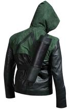 Green Arrow Stephen Amell Oliver Queen Hooded Costume Leather Jacket image 3
