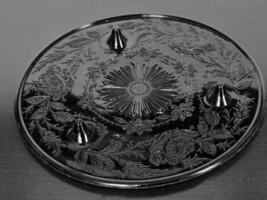Rare Vintage US Glass Co. Black Ebony Shaggy Rose Pattern Cake Plate Stand - $38.00