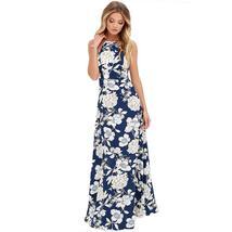 Summer Flower Print Halter Neck Women Boho Maxi Dress - $24.84