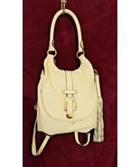 BRAND NEW  G.I.L.I Leather Convertible Backpack Purse Winter White W DUS... - $62.99
