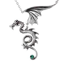 Bestia Regalis Dragon Moving Wing Pendant Emerald Crystals Alchemy Gothic P577 - $50.00