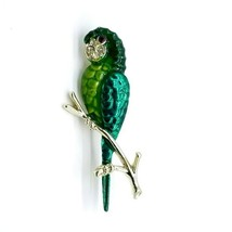 Vintage Goldtone Green Clear Red Rhinestone Macaw Parrot Bird Pin Brooch - $17.45