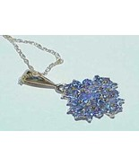 14K 3.00ct Tanzanite Marquise Cluster Pendant Necklace Yellow Gold NEW T... - $692.99