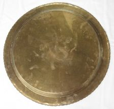 """Huge Brass Asian Tray Centerpiece Charger 22"""" Birds of Prey Rabbit Engraved HTF image 8"""
