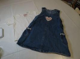 Sweet Innocence 4T overall set shirt spring heart denim Girl's youth dre... - $11.75