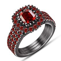 3Pcs Bridal Set Matching Band 14k Black Gold 925 Silver Cushion Cut Red Garnet - $135.99