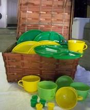 Vintage GOTHAM USA Wicker Picnic Basket with Plates Cups Salt Pepper Sha... - $128.65