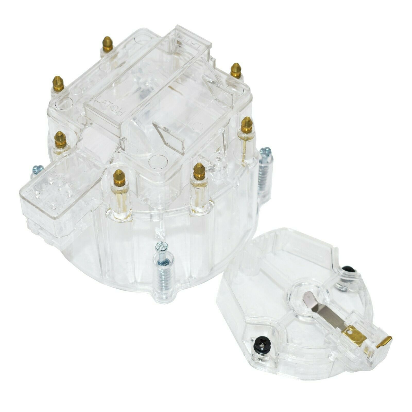 Distributor Cap w/ Rotor & Coil Cover Kit for SBC BBC Chevy 65K Coil 8 CYL Clear