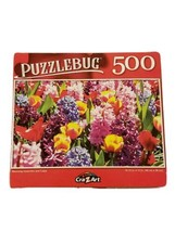 """Puzzlebug 500 Piece Blooming Hyacinths and Tulips 18.25""""  X 11"""" New COLO... - $6.23"""