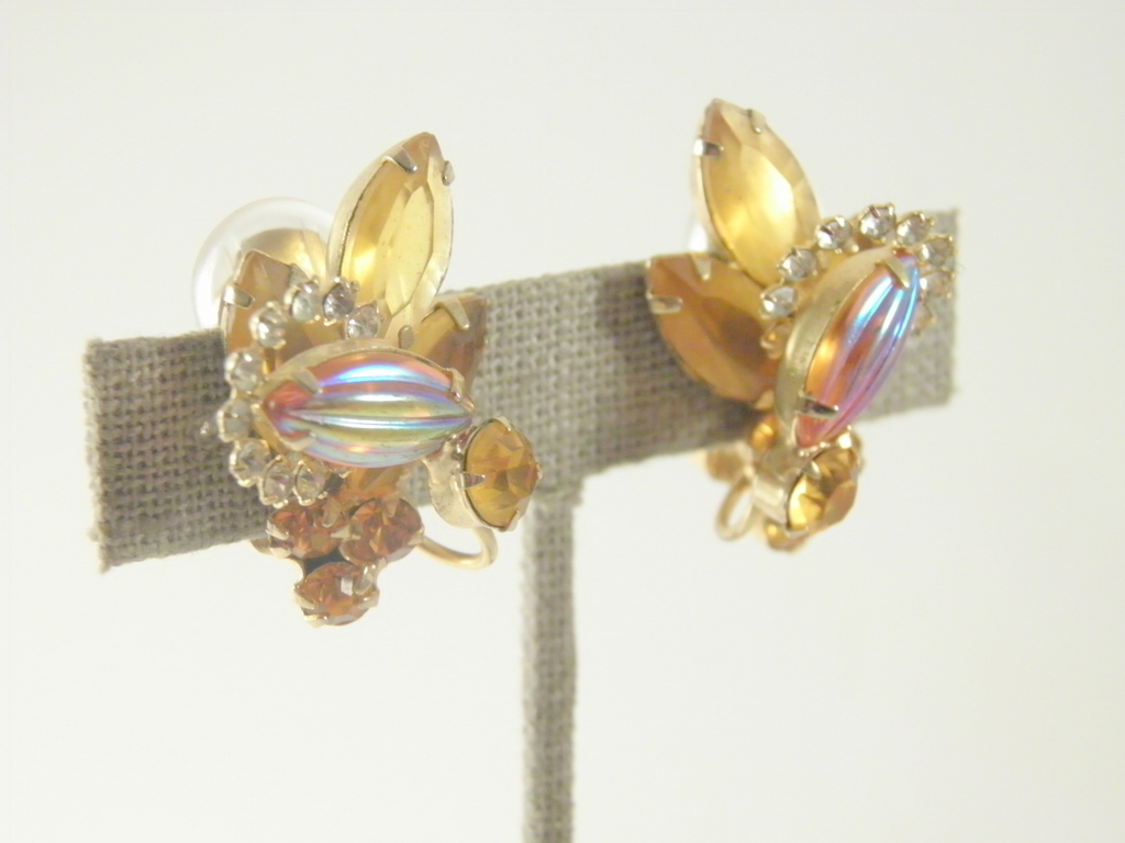 juliana colorado topaz art glass crystal marquis cut over wire clip-on er 3665