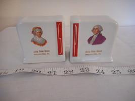 Vintage art deco white red ceramic Salt & Pepper Set Betsy Ross House so... - £22.57 GBP