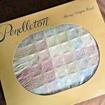 Pendleton 100% Wool Occasional Throw Blanket Pink Blue Pastel Check Frin... - $139.97