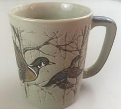 Otagiri Wood Duck Mallard Flight Trees Hand Painted Japan Stoneware Mug - $18.76