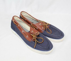 Ralph Lauren Polo Rylander Sneakers Casual Boat Shoes Blue Canvas Leather 12D - $37.67 CAD