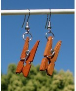 New Modified Handcrafted Real Miniature Wooden Clothespin Earrings Made ... - $11.29 CAD