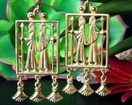 Vintage Vendome Egyptian Greek Roman Revival Dangle Earrings Clip Gold - $149.95