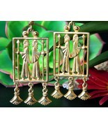Vintage Vendome Egyptian Greek Roman Revival Dangle Earrings Clip Gold - $149.95