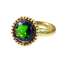 adorable Emerald CZ Gold Plated Green Ring Natural supplies US gift - $24.99