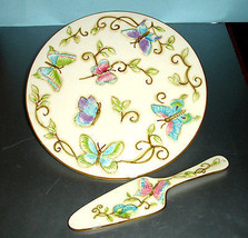 """Franciscan Primavera 12"""" Cake Plate & Server Handpainted Butterfly Wedgw... - $32.90"""