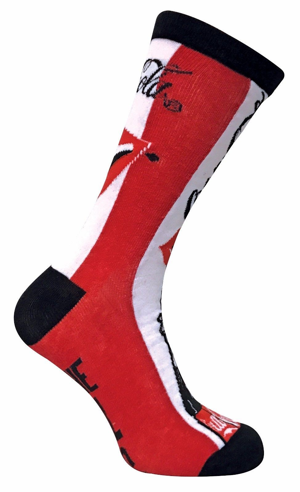Coca Cola - 2 Pack Womens Thin Striped Red Novelty Funky Cotton Crew Dress Socks
