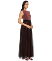 Sangria Red Women's Size 2 Metallic Mesh Skirt Sheath Dress  Retail $138 #PL1522 - $52.25