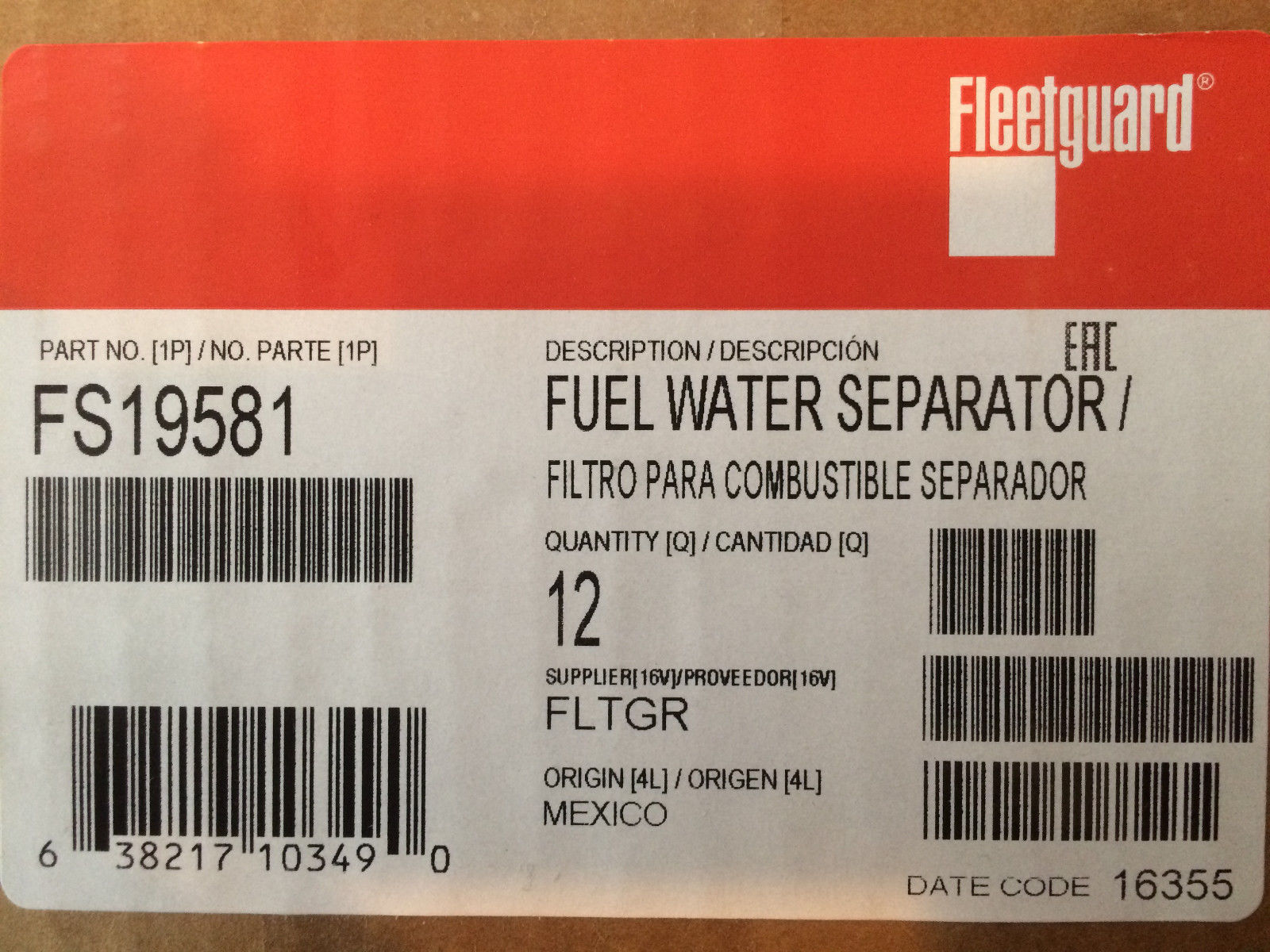 Case Of 12 Fs19581 Fleetguard Fuel Filter And 21 Similar Items Filters Agco Bobcat New Holland Volvo