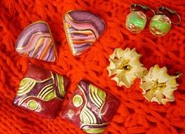 VTG Lot of 4 pairs of Vintage Lucit Metal Enamel Clip on Earrings - $11.87