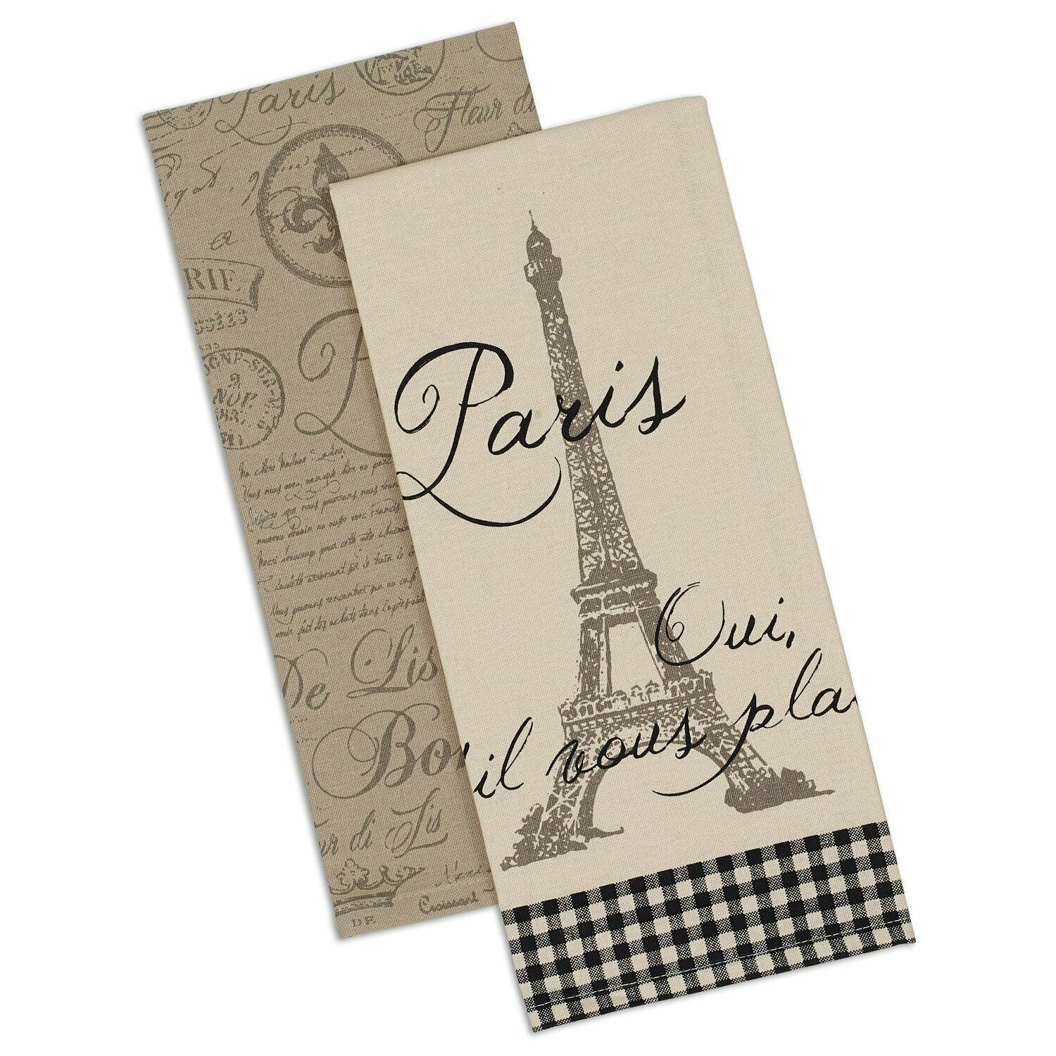 Primary image for Paris Dish Towels Set of 2 New Kitchen Tea Cotton Eiffel Tower Postmark Fleur de