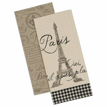 Paris Dish Towels Set of 2 New Kitchen Tea Cotton Eiffel Tower Postmark ... - $19.79