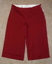New Gap Sz 6 Capris Red Modern Fit Cuffed Wide Leg Gaucho Pants Cotton Stretch - $20.56