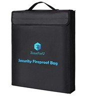 Fireproof Bags, XL Fireproof Document & Money Bags, U-Shaped Zipper, Non-Itchy W