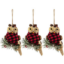 "Owl Red & Black Buffalo Check Ornaments Set Of Three 5"" X 4.5"" - $9.00"