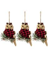 "Owl Red & Black Buffalo Check Ornaments Set Of Three 5"" X 4.5"" - $9.00"