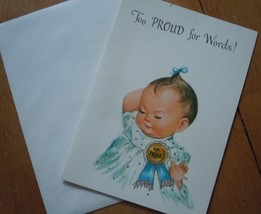 Mid Century Congratulations On New Baby Girl With Glitter Card Unused - $4.99