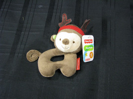 """FISHER-PRICE MONKEY REINDEER BABY RING RATTLE 6"""" NEW WITH TAGS! - $31.67"""
