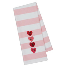 "XOXO Hearts Embellished Kitchen Dish Towel New 18"" x 28"" Pink Valentine ... - $14.84"