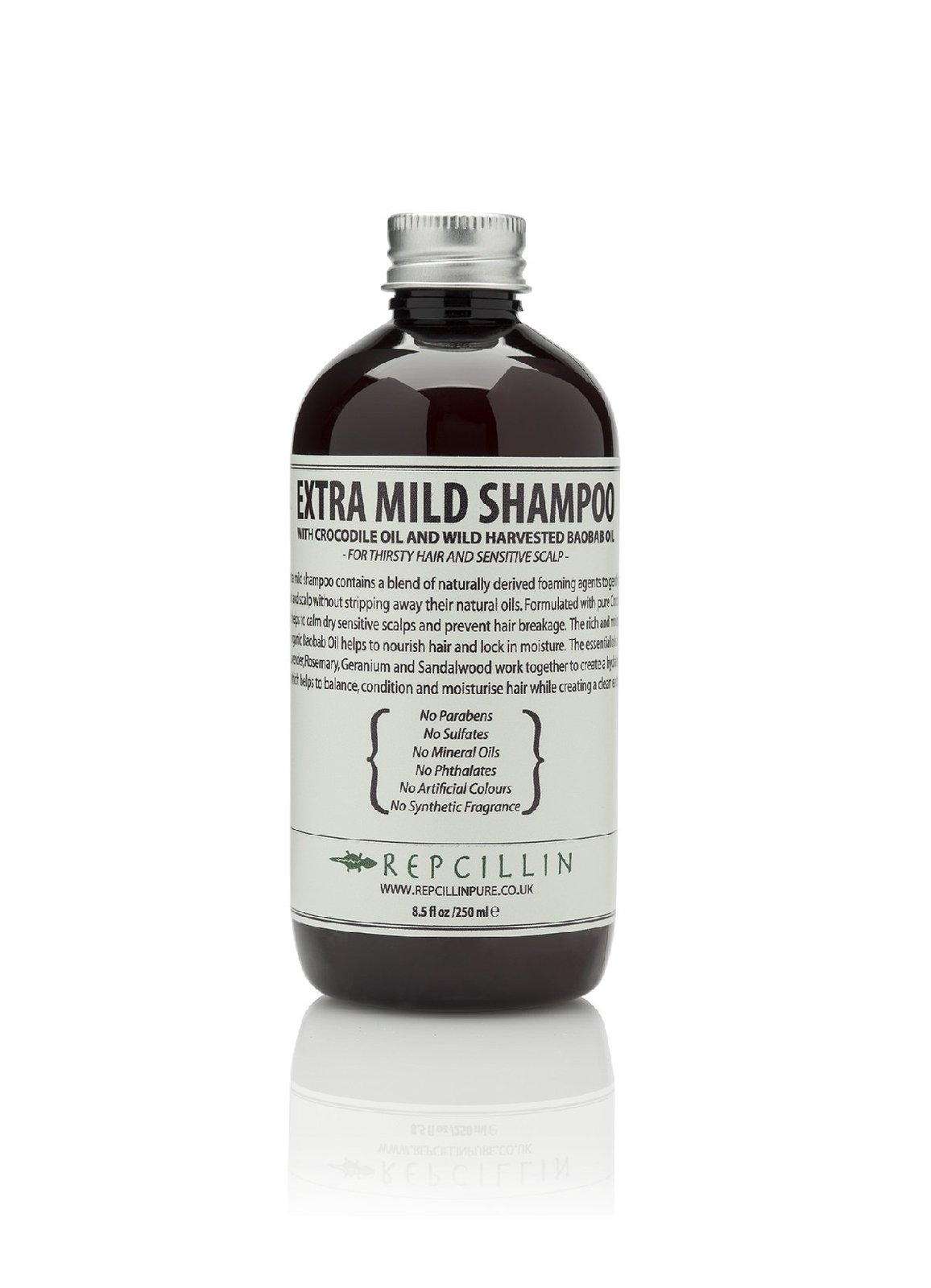 Repcillin Extra Mild Shampoo with Crocodile Oil and Wild Harvested Baobab Oil...